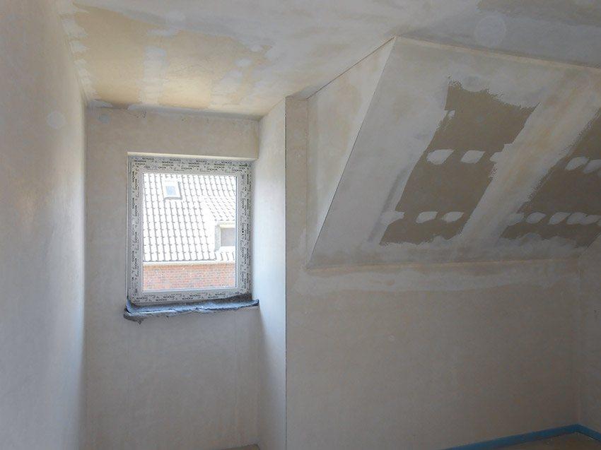 Zimmer mit Innenputz und Trockenbau