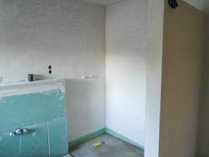 Referenz Badezimmer verputzen und Trockenbau nacher